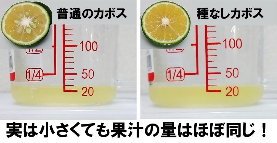 種なしカボス果汁量比較