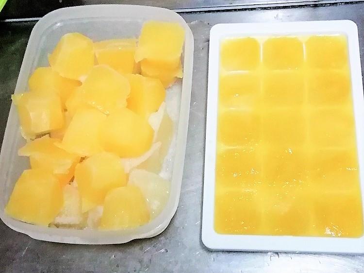 凍らせたカボス果汁
